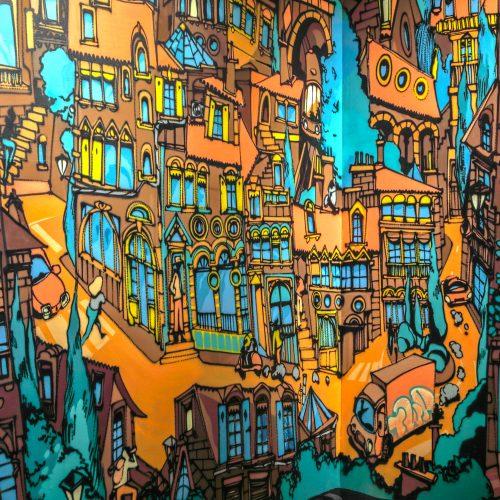 peinture street art maxime ivanez pour offside gallery au stade de Lyon