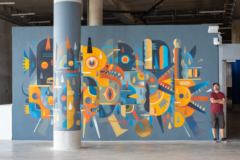 peinture street art niark1 pour offside gallery au stade de Lyon