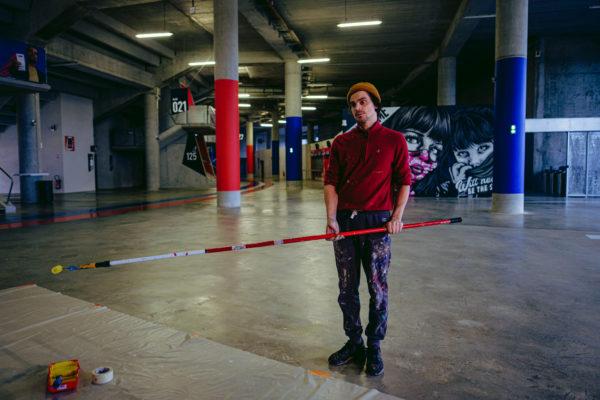peinture street art blo dmv pour offside gallery au stade de Lyon