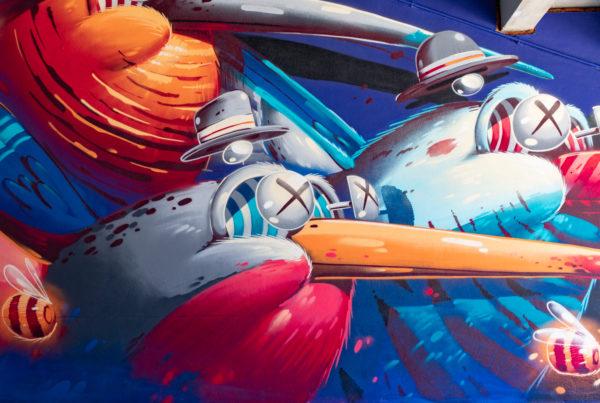 peinture street art stom500 pour offside gallery au stade de Lyon